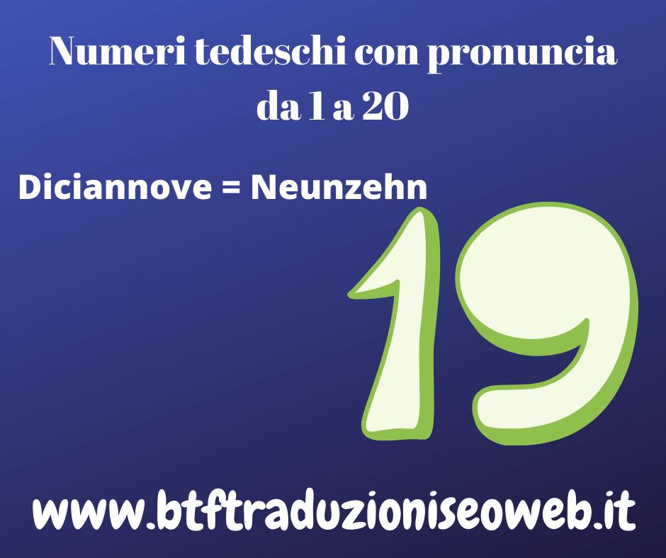 diciannove neunzehn