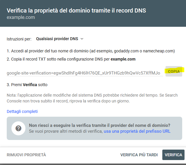 verifica proprieta dominio dns