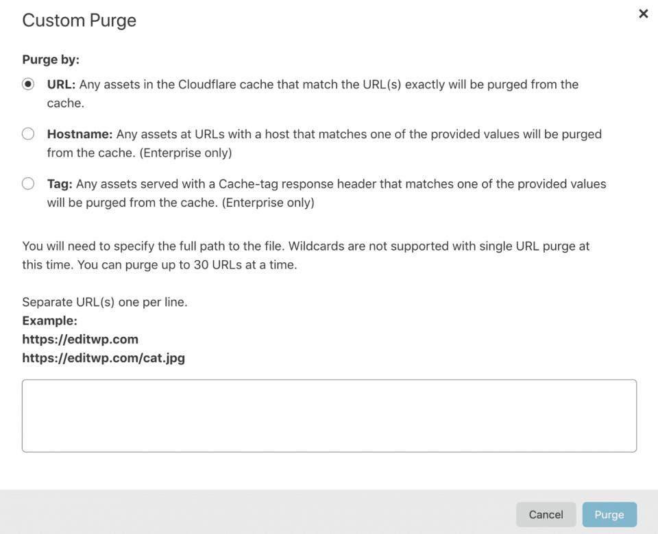 cloudflare purge personalizzata